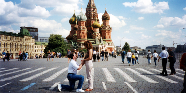 Craig and Larisa on the Red square in Moscow
